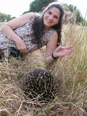 Kathy with an echidna